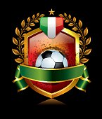 Soccer Icon with Italy Flag and Laurel Wreath