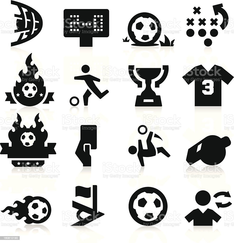 Soccer icons in black against white background royalty-free stock vector art