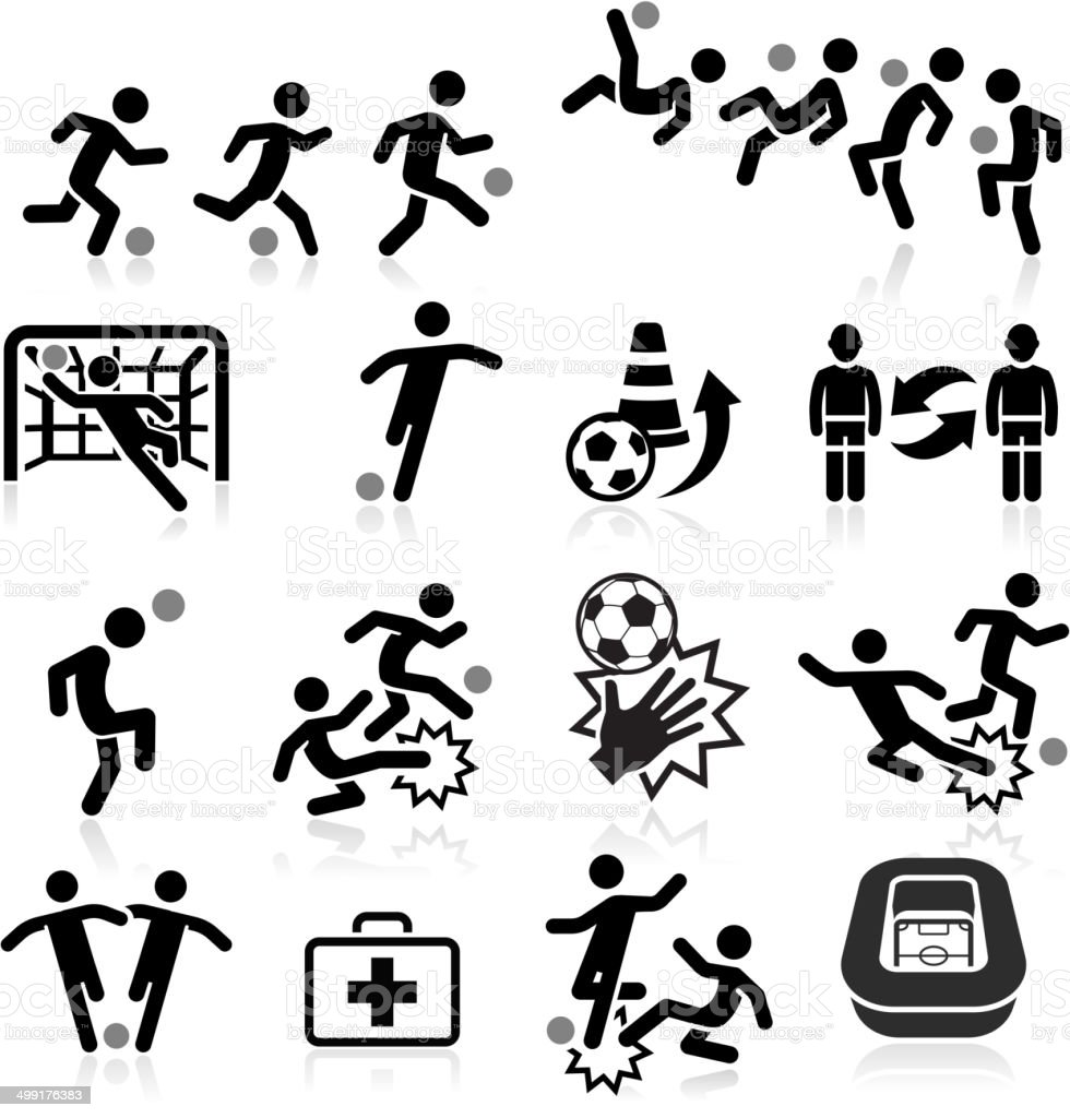 Soccer icons set . vector art illustration