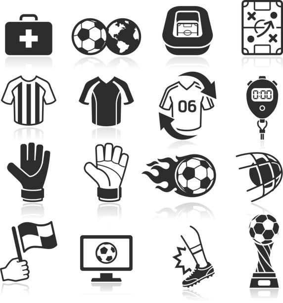 Soccer icons set . Soccer icons set. formal glove stock illustrations