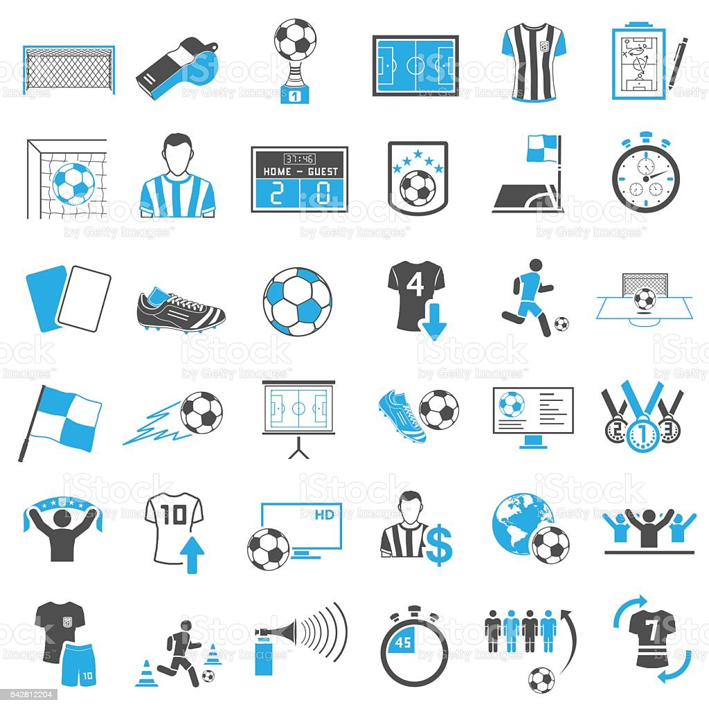 Soccer Icons Set vector art illustration