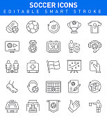 Soccer Icons. Sport Editable Stroke Icon Collection