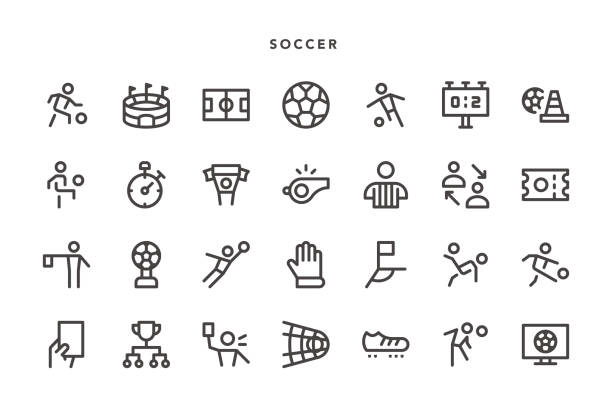 Soccer Icons Soccer Icons - Vector EPS 10 File, Pixel Perfect 28 Icons. fan club stock illustrations