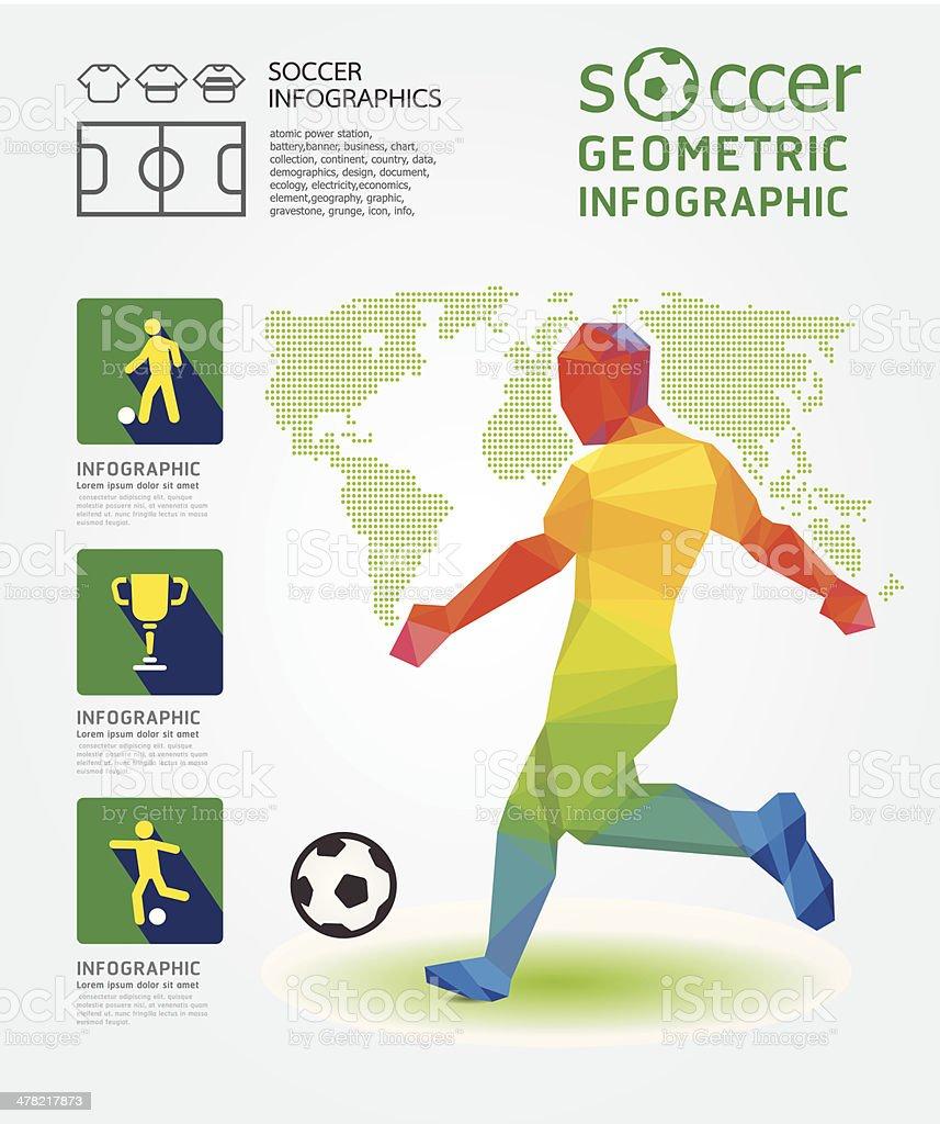 Infográfico conceito de Design geométrico de futebol - ilustração de arte em vetor