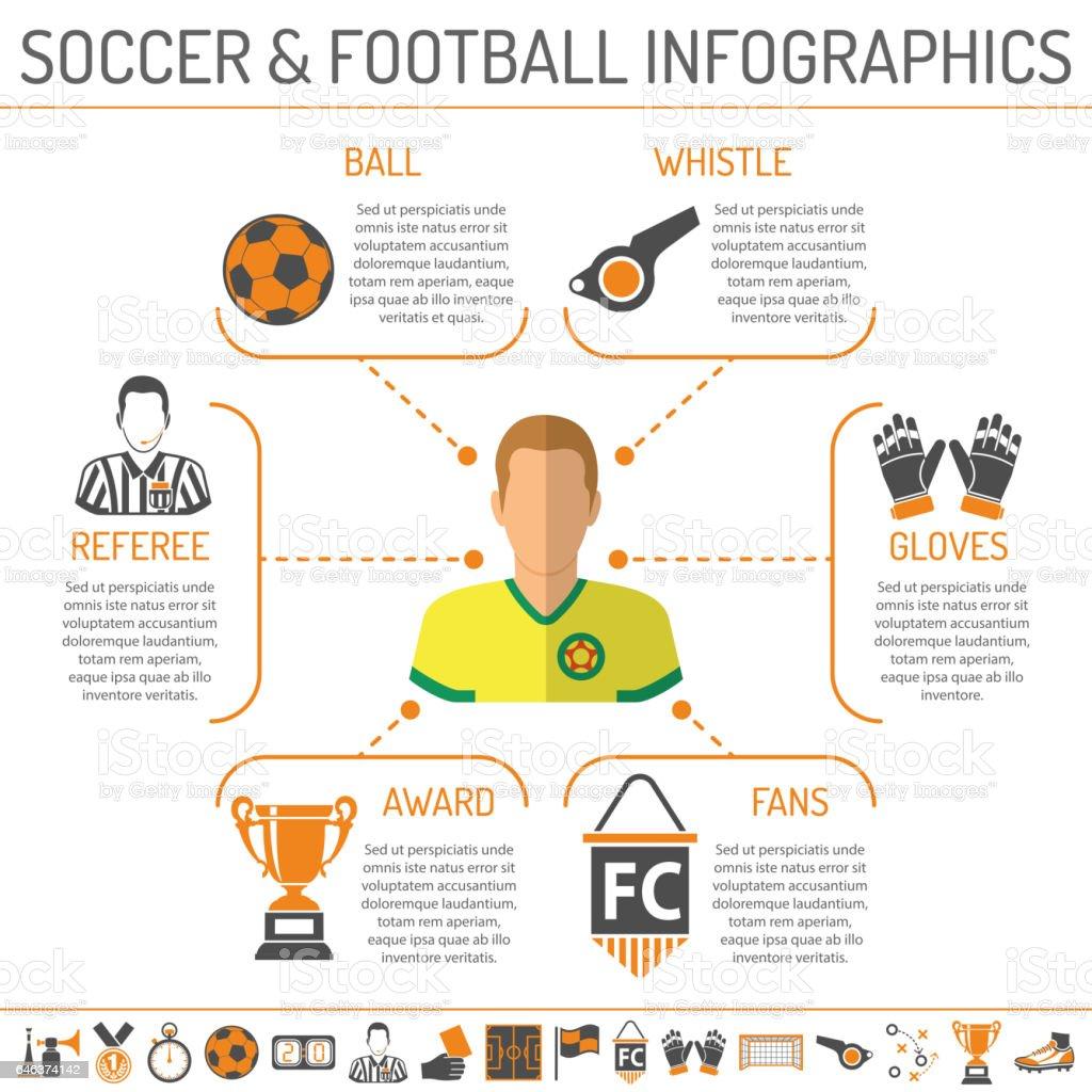 soccer infographics illustration - ilustración de arte vectorial