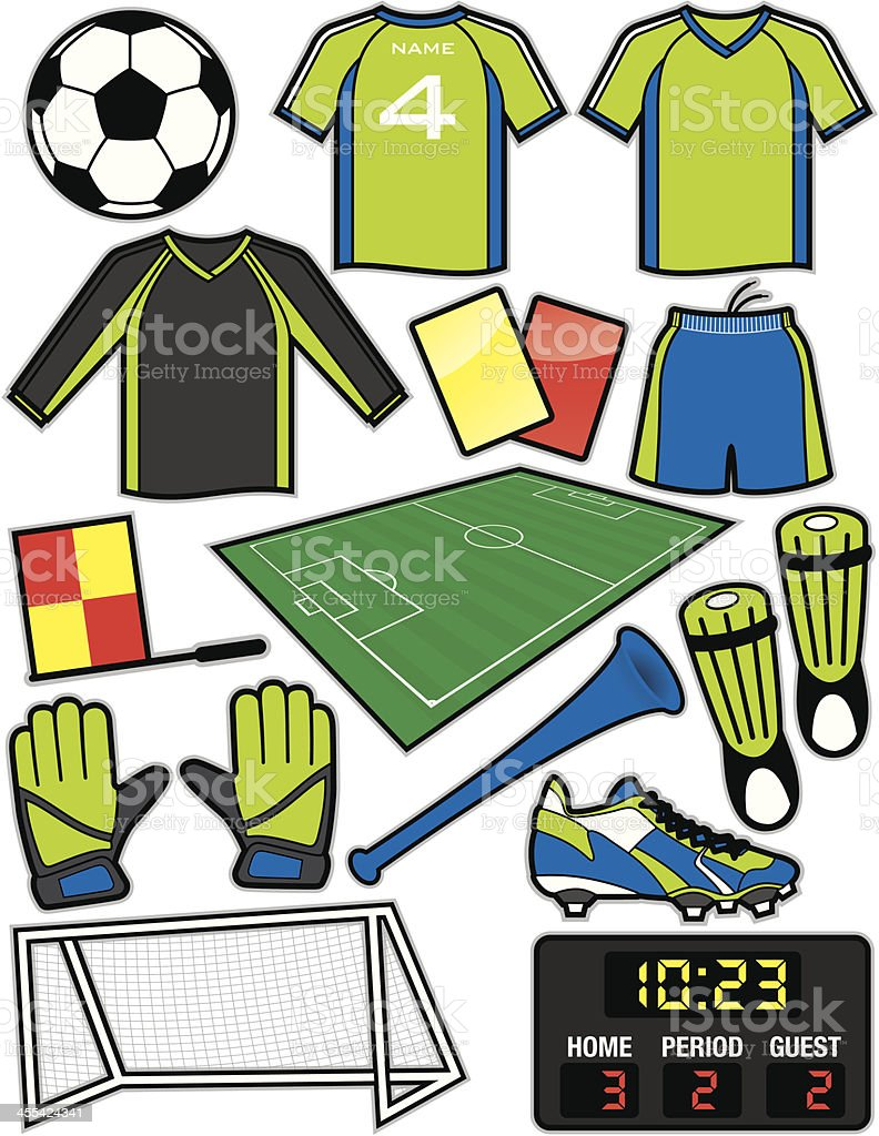 Soccer Items royalty-free stock vector art