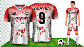 Soccer Jersey and Football Kit Presentation Mockup Template, Front and Back View Including Sportswear Uniform, Shorts and Socks and it is Fully Customization Isolated on Transparent Background