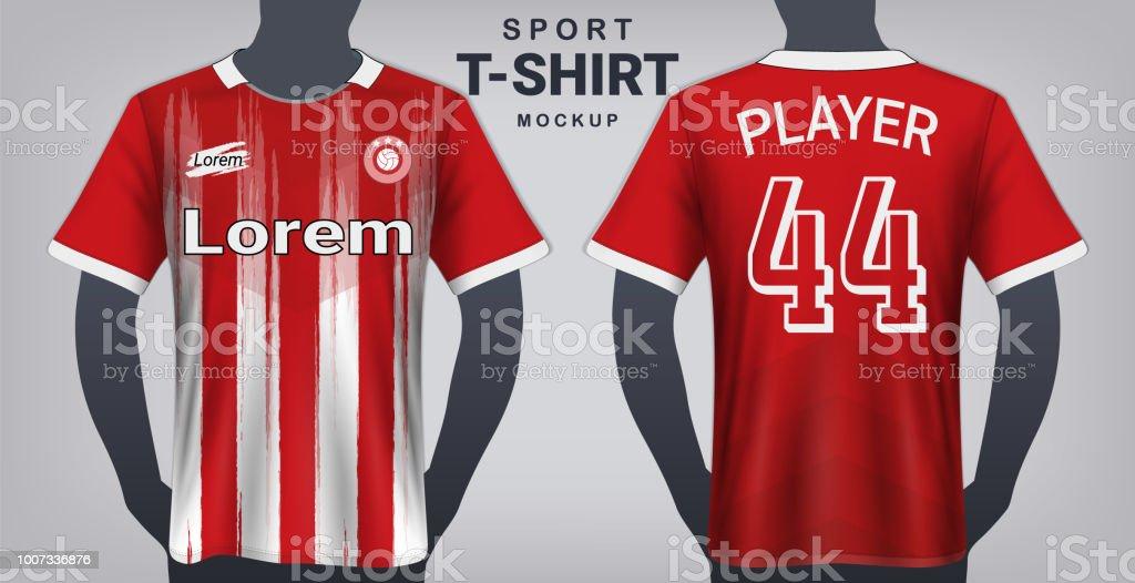 924b2ebc15c Jersey de fútbol y deporte camiseta maqueta plantilla, diseño gráfico  realista frente y vista trasera