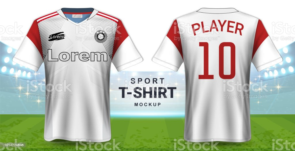 229aaed8a98 Jersey de fútbol y ropa deportiva camiseta maqueta plantilla, diseño  gráfico realista frente y vista