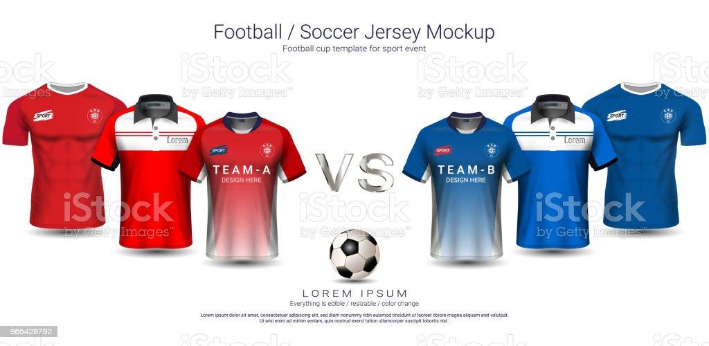 足球球衣和 t恤運動樣機範本團隊 a vs 團隊 B, 足球套件的平面設計或主動穿制服, 您可以選擇3種類型的頸部, 並可以改變所有設計部件。 - 免版稅T恤圖庫向量圖形