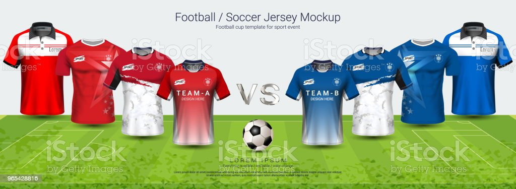 Soccer jersey and t-shirt sport mockup template team A vs team B, Graphic design for football kit or active wear uniforms, You can choose between 4 types of neck and can change all design parts. royalty-free soccer jersey and tshirt sport mockup template team a vs team b graphic design for football kit or active wear uniforms you can choose between 4 types of neck and can change all design parts stock vector art & more images of awards ceremony