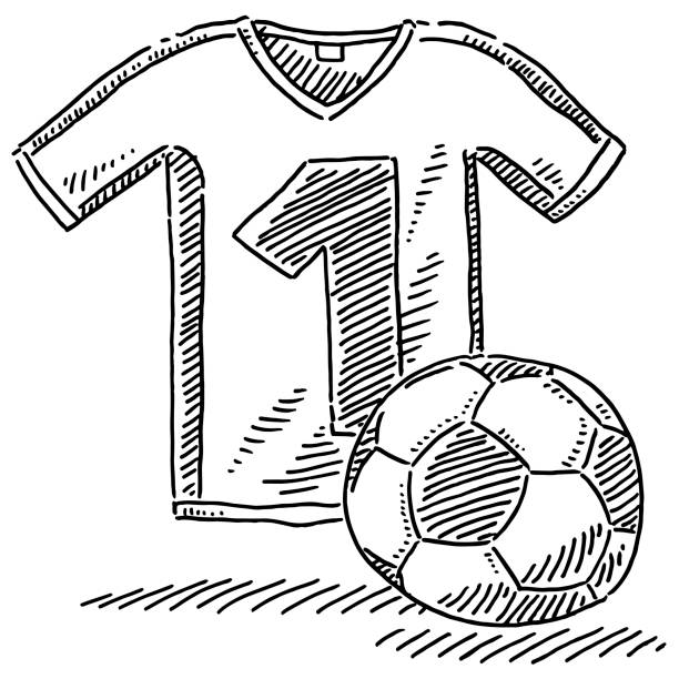 Soccer Jersey Ball Symbol Drawing Hand-drawn vector drawing of a Soccer Jersey and Soccer Ball Symbol. Black-and-White sketch on a transparent background (.eps-file). Included files are EPS (v10) and Hi-Res JPG. soccer stock illustrations
