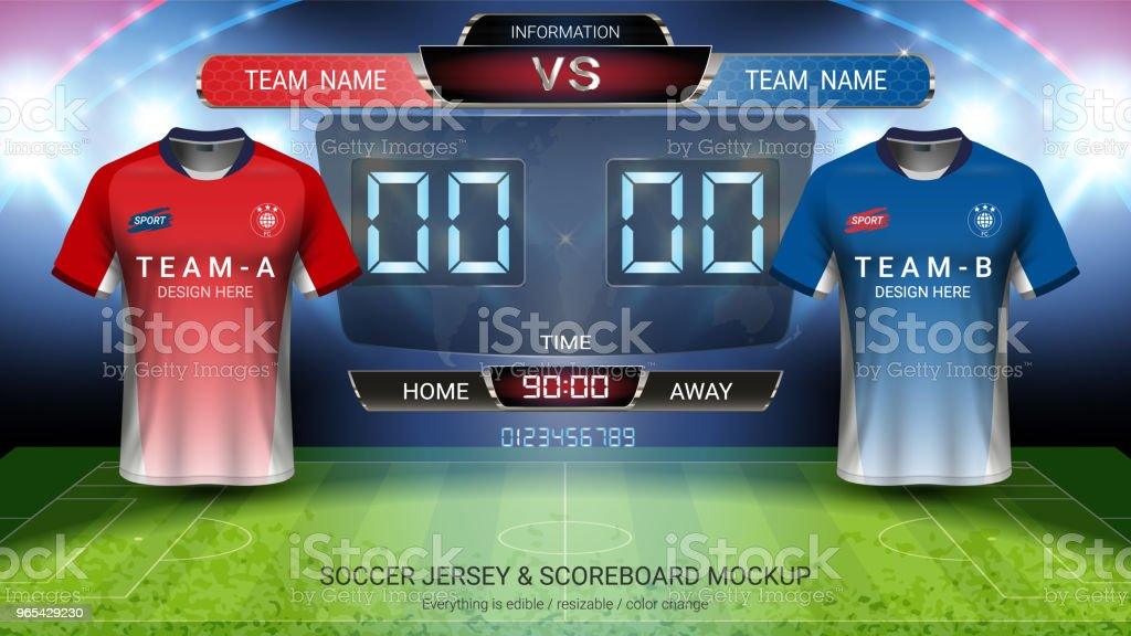 Soccer jersey mock-up team A vs team B, Digital timing scoreboard match vs strategy broadcast graphic template for presentation score or game results (EPS10 vector can change all design parts) royalty-free soccer jersey mockup team a vs team b digital timing scoreboard match vs strategy broadcast graphic template for presentation score or game results stock vector art & more images of 2018