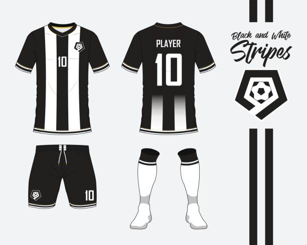 Soccer jersey or football kit collection in black and white stripes concept. Football shirt mock up. Front and back view soccer uniform. Football logo in flat design. Vector vector art illustration