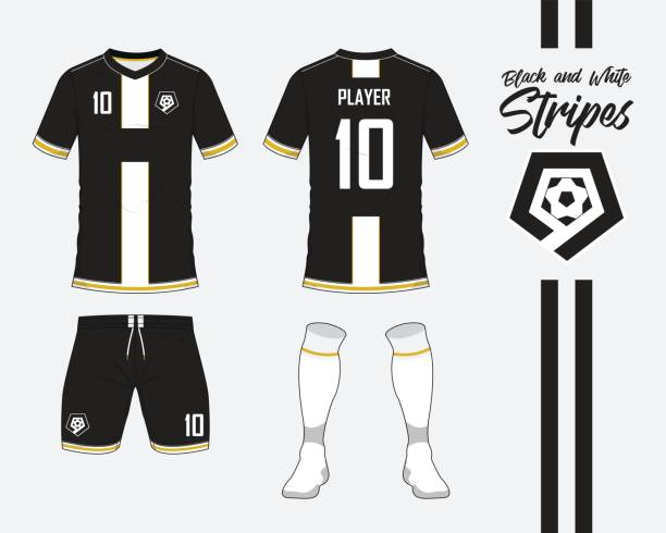 Soccer jersey or football kit collection in black and white stripes concept. Football shirt mock up. Front and back view soccer uniform. Football logo in flat design. Vector. vector art illustration