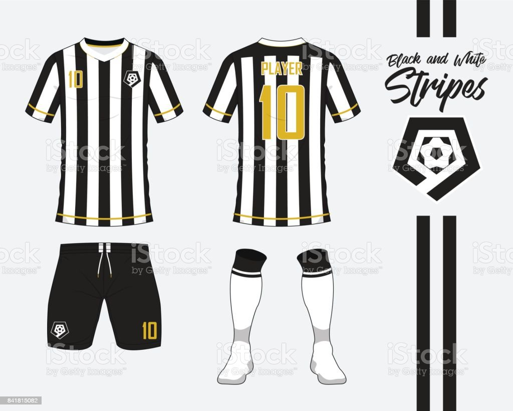 Line Art Uniform : Soccer jersey or football kit collection in black and white stripes