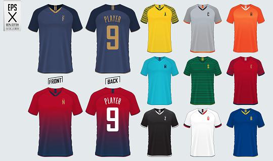 Soccer jersey or football kit mockup template design for sport club. Football t-shirt sport mock up. Front and back view soccer uniform. Flat football logo design. Vector