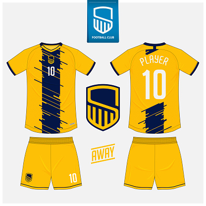 Soccer jersey or football kit mockup template design for sport club. Football t-shirt sport, shorts mock up. Soccer uniform in front view, back view . Football logo in flat design. Vector