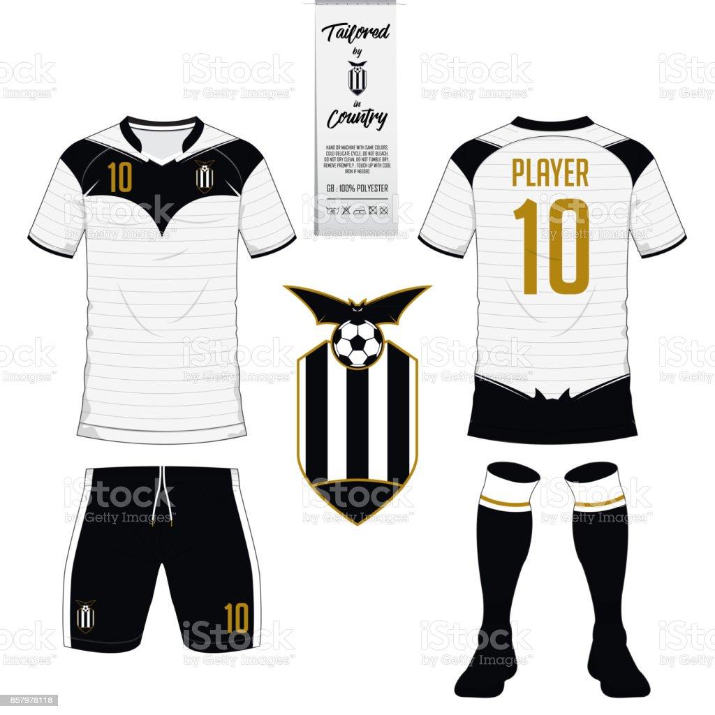 Ilustración de Fútbol Jersey O Fútbol Kit Corto Media Plantilla Para ...