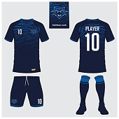 Soccer jersey or football kit, short, sock template for sport club. Football t-shirt mock up. Front and back view soccer uniform. Flat football icon on blue label. Vector Illustration.
