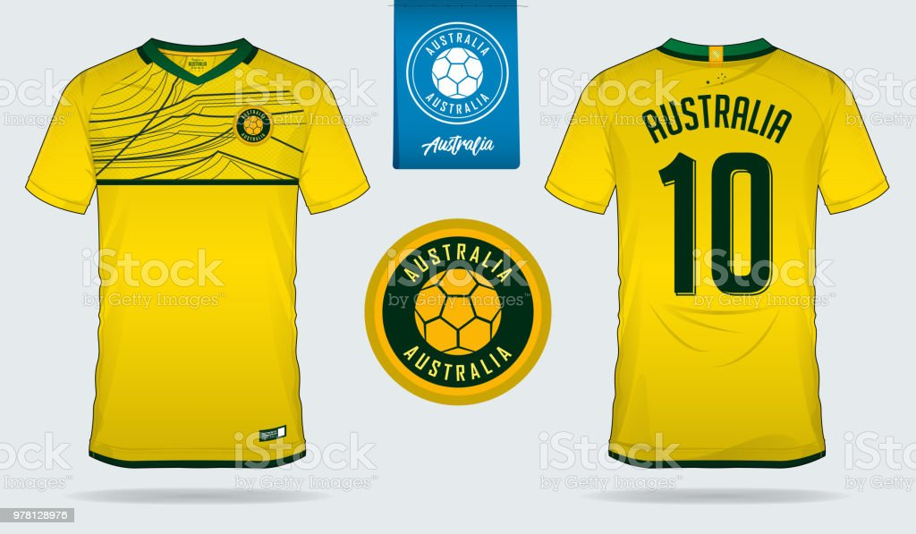 Soccer jersey or football kit template design for Australia national football  team. Front and back view soccer uniform. Home and Away Football t shirt  mock ... b7aa7a6d9