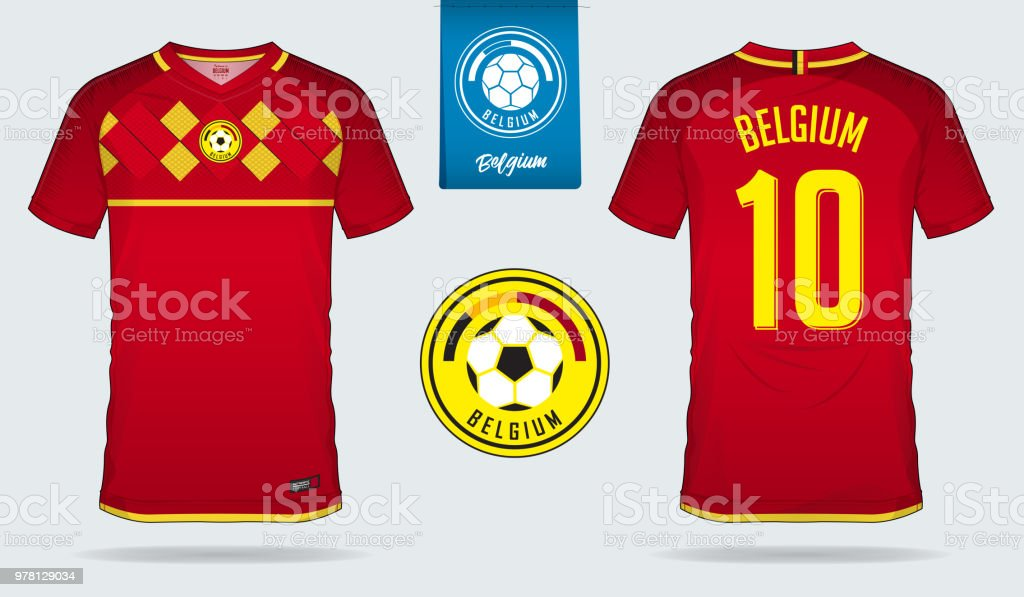 82eac9d5315 Soccer jersey or football kit template design for Belgium national football  team. Front and back view soccer uniform. Home and Away Football t shirt  mock up ...