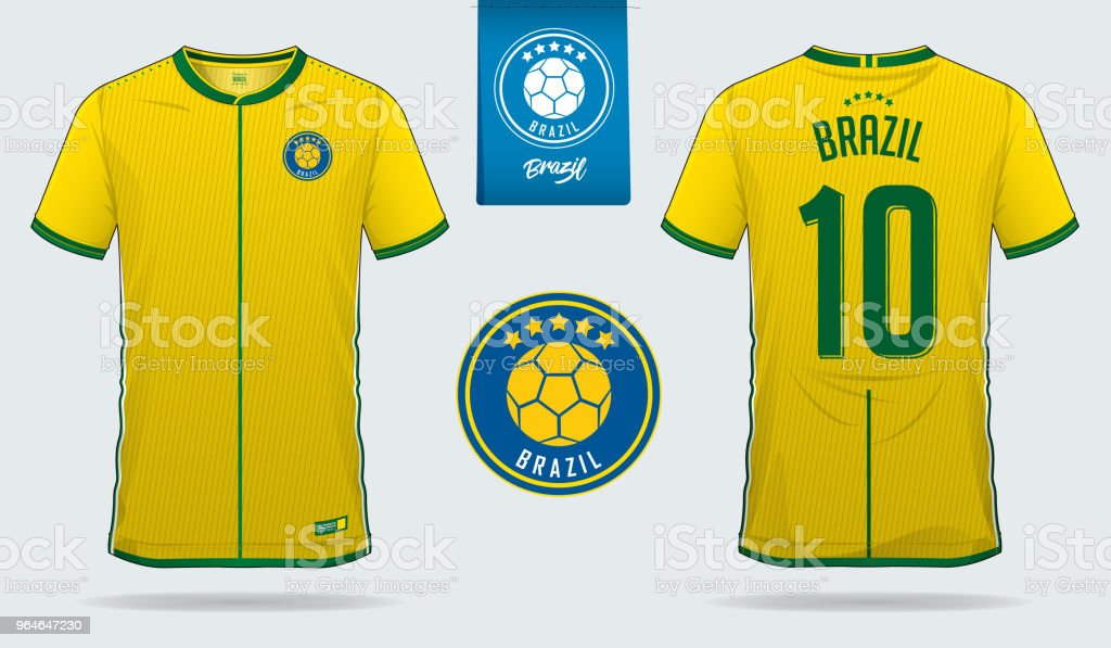Soccer jersey or football kit template design for Brazil national football team. Front and back view soccer uniform. Football t shirt mock up. royalty-free soccer jersey or football kit template design for brazil national football team front and back view soccer uniform football t shirt mock up stock vector art & more images of artificial