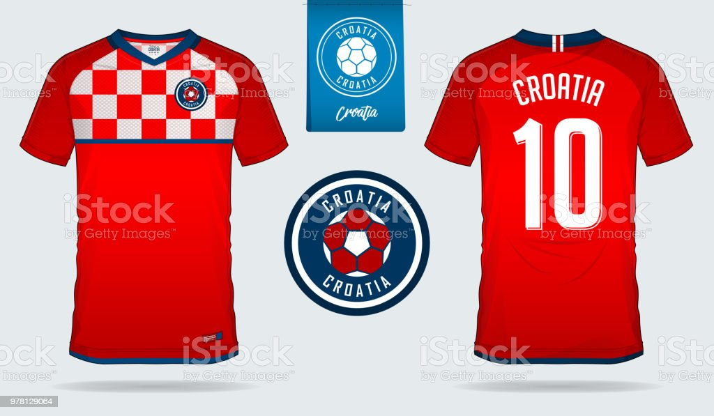Soccer Jersey Or Football Kit Template Design For Croatia National Team Front And Back