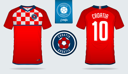 Soccer jersey or football kit template design for Croatia national football team. Front and back view soccer uniform. Football t shirt mock up with flat symbol design.