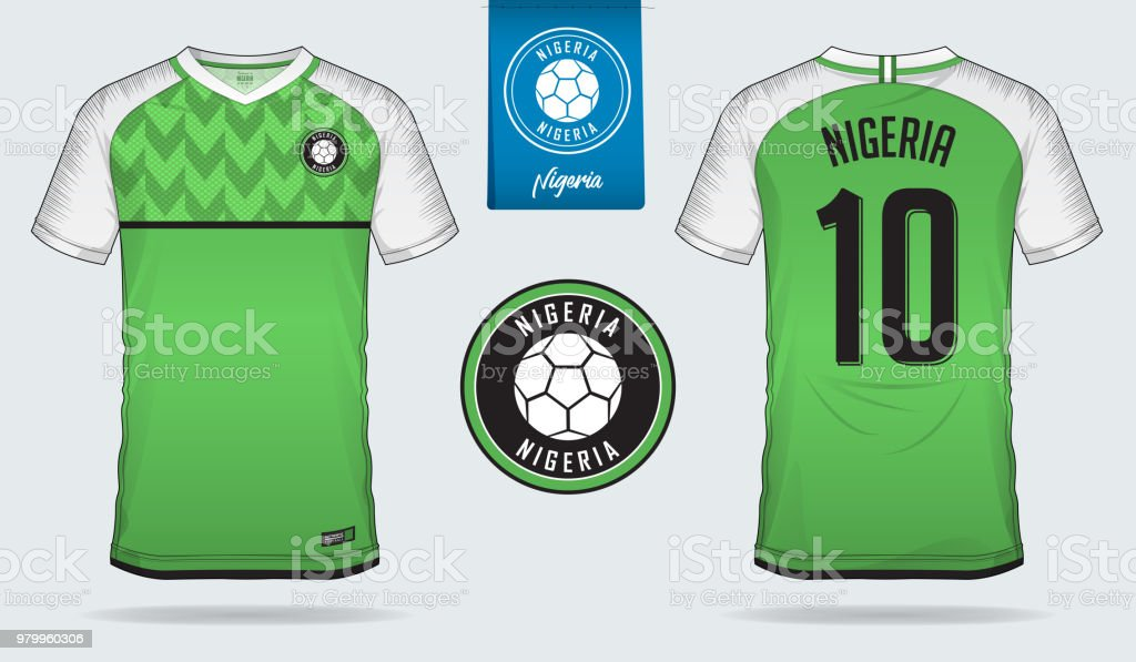 cf0344afc Soccer jersey or football kit template design for Nigeria national football  team. Front and back