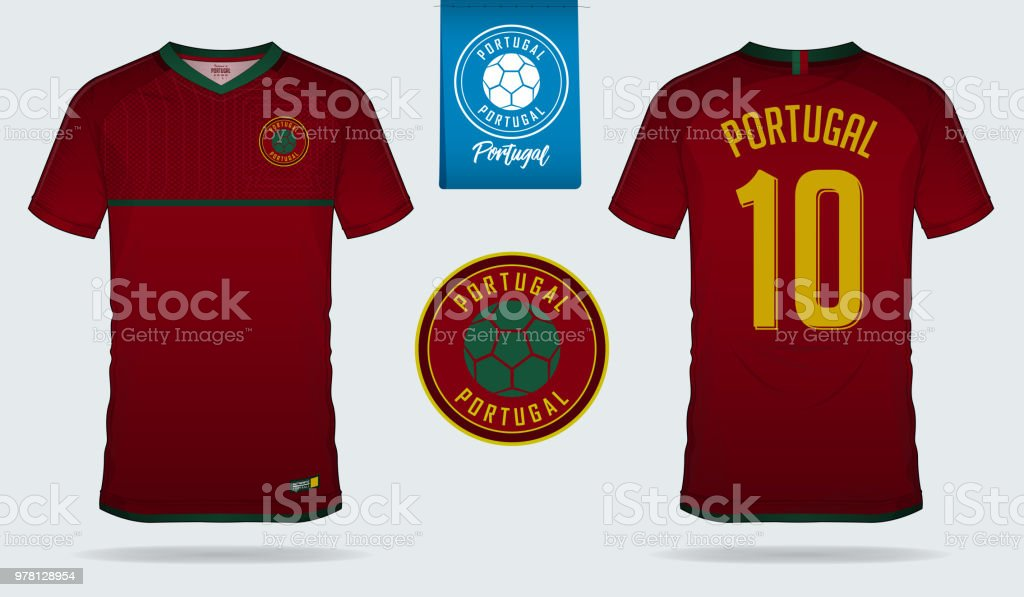 Soccer Jersey Or Football Kit Template Design For Portugal National