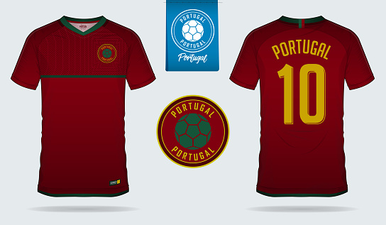 Soccer jersey or football kit template design for Portugal national football team. Front and back view soccer uniform. Football t shirt mock up with flat symbol design.