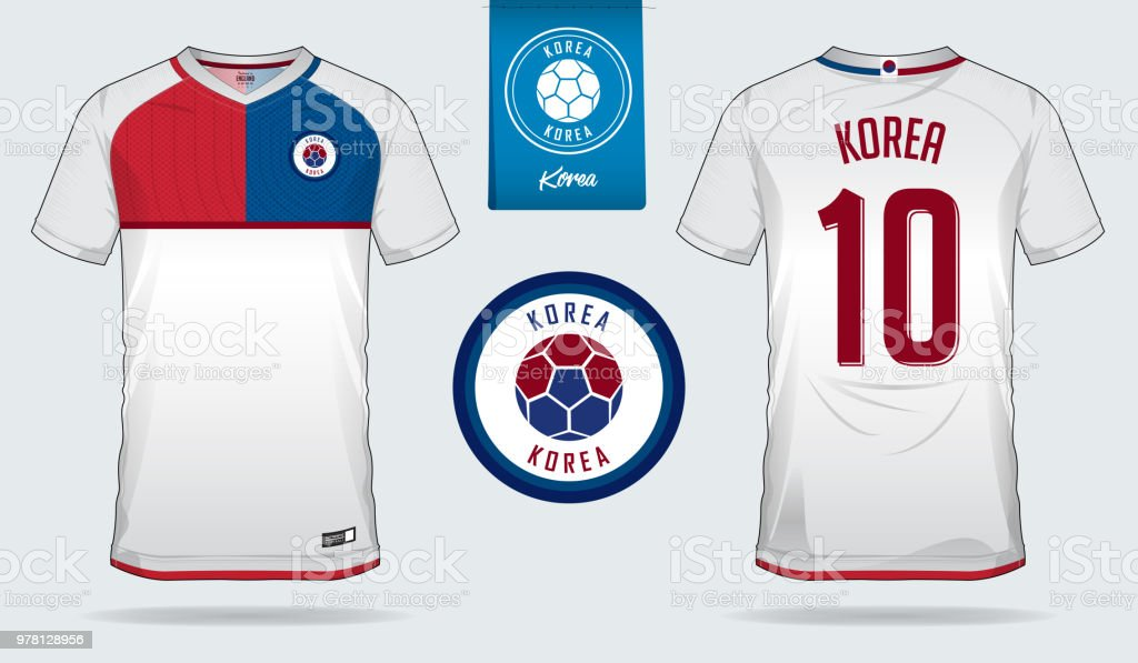 d8ab6ac25 Soccer jersey or football kit template design for South Korea national  football team. Front and