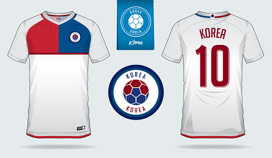 Soccer jersey or football kit template design for South Korea national football team. Front and back view soccer uniform. Football t shirt mock up with flat symbol design.