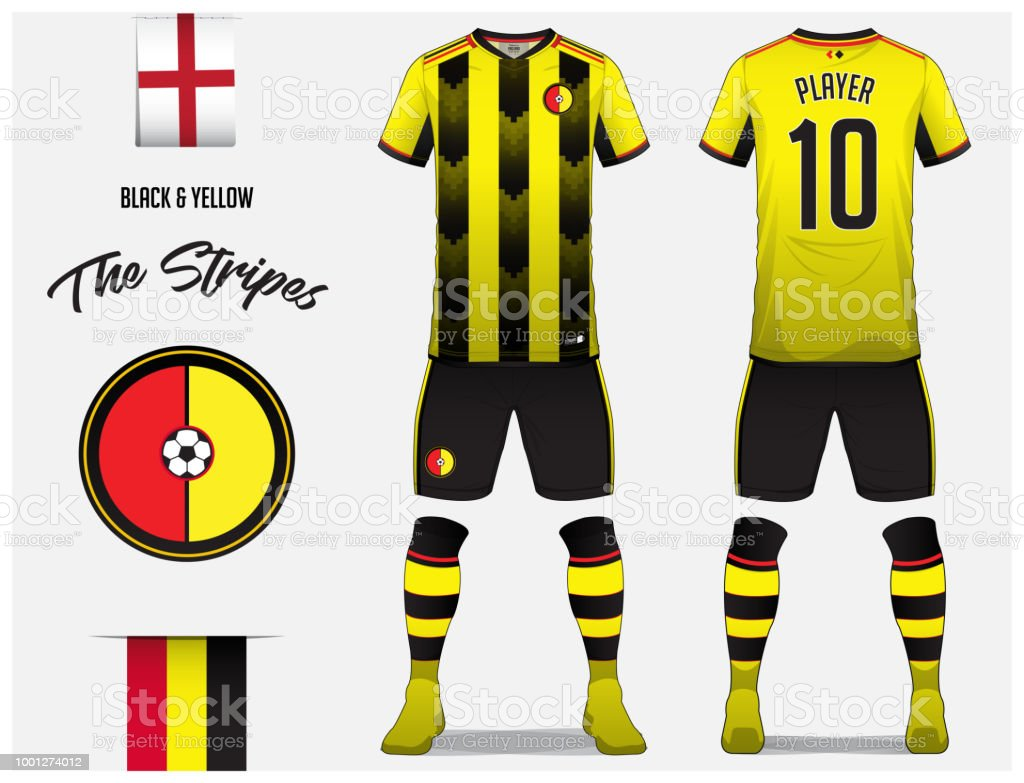 Soccer Jersey Or Football Kit Template For Football Club Black And