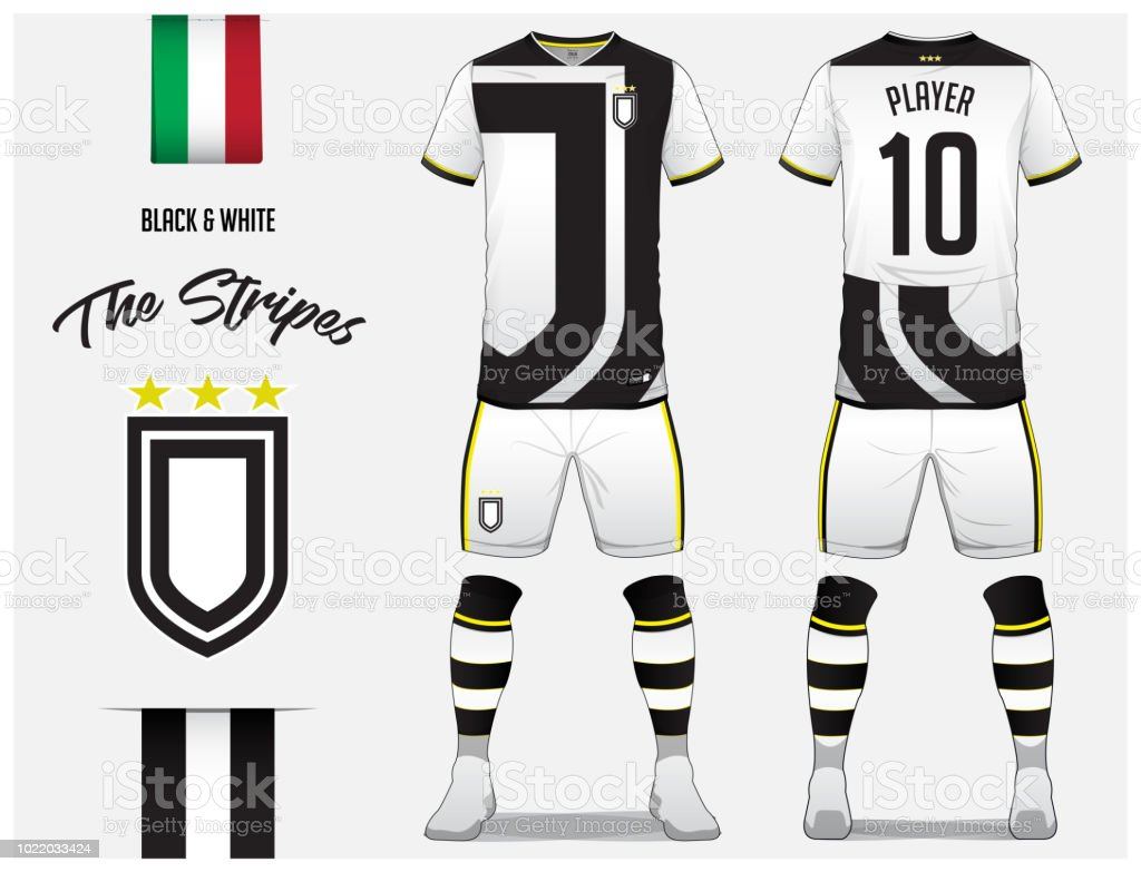 cb65f559b Soccer jersey or football kit template for football club. Black and white  stripe football shirt with sock and white shorts mock up.