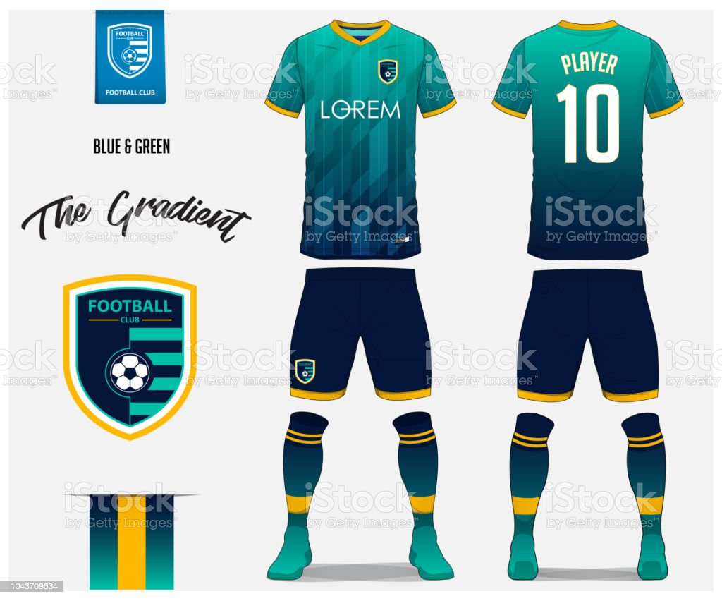 Soccer Jersey Or Football Kit Template For Football Club Blue And Green Gradient Football Shirt With Sock And Blue Shorts Mock Up Front And Back View ...