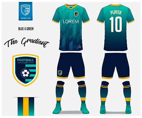 Soccer jersey or football kit template for football club. Blue and green gradient football shirt with sock and blue shorts mock up. Front and back view soccer uniform. Football logo design. Vector.