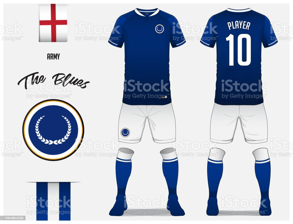 Soccer jersey or football kit template for football club. Blue football  shirt with sock and shorts mock up. Front and back view soccer uniform. 296357eb2