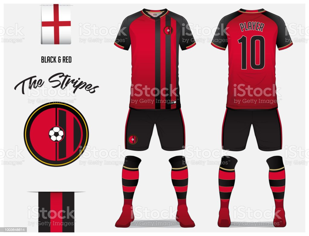 Soccer jersey or football kit template for football club. Red and black stripe football shirt with sock and black pants mock up. Front and back view soccer uniform. Football logo and Flag label. vector art illustration