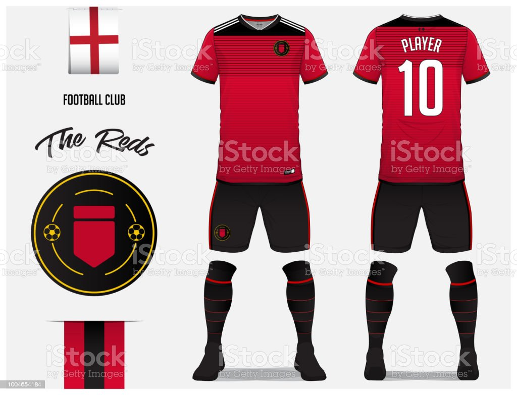 Soccer jersey or football kit template for football club. Red football shirt  with sock and shorts mock up. Front and back view soccer uniform. 90865d990