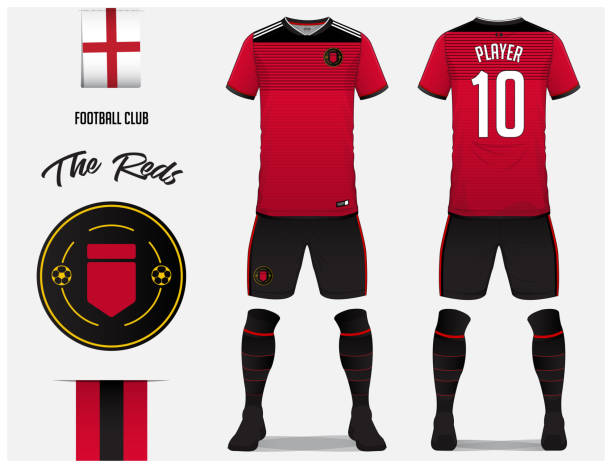 Soccer jersey or football kit template for football club. Red football shirt with sock and shorts mock up. Front and back view soccer uniform. Football icon and Flag label. vector art illustration