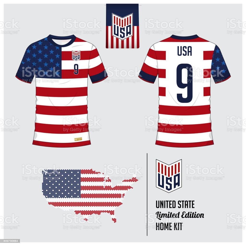 new concept 0d9b6 622ed Soccer Jersey Or Football Kit Template For United States Of ...