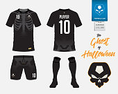 Soccer jersey or football kit template in Skeleton in Halloween concept. Football t shirt mock up. Front and back view soccer uniform. Football logo on label in flat design. Vector