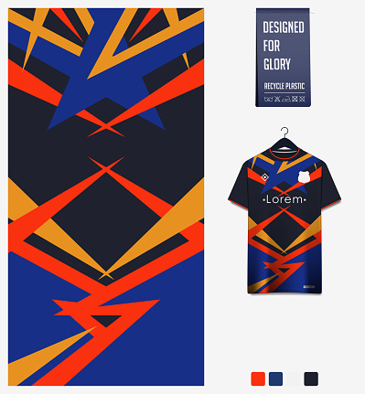 Soccer jersey pattern design.  Abstract pattern on blue background for soccer kit, football kit or sports uniform. T-shirt mockup template. Fabric pattern. Sport background.