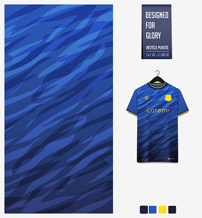 Soccer jersey pattern design.  Abstract pattern on blue background for soccer kit, football kit or sports uniform. T-shirt mockup template. Fabric pattern. Abstract background.