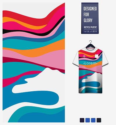 Soccer jersey pattern design.  Abstract pattern on colorful background for soccer kit, football kit or sports uniform. T-shirt mockup template. Fabric pattern. Abstract background.