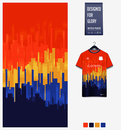 Soccer jersey pattern design.  Abstract pattern on orange background for soccer kit, football kit or sports uniform. T-shirt mockup template. Fabric pattern. Sport background.
