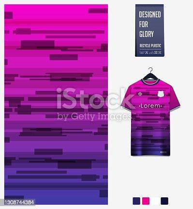 Soccer jersey pattern design. Geometric pattern on violet abstract background for soccer kit, football kit or sports uniform. T-shirt mockup template. Fabric pattern. Sport background.