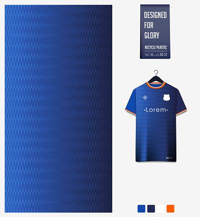 Soccer jersey pattern design. Zig Zag pattern on blue abstract background for soccer kit, football kit or sports uniform. T-shirt mockup template. Fabric pattern. Sport background.